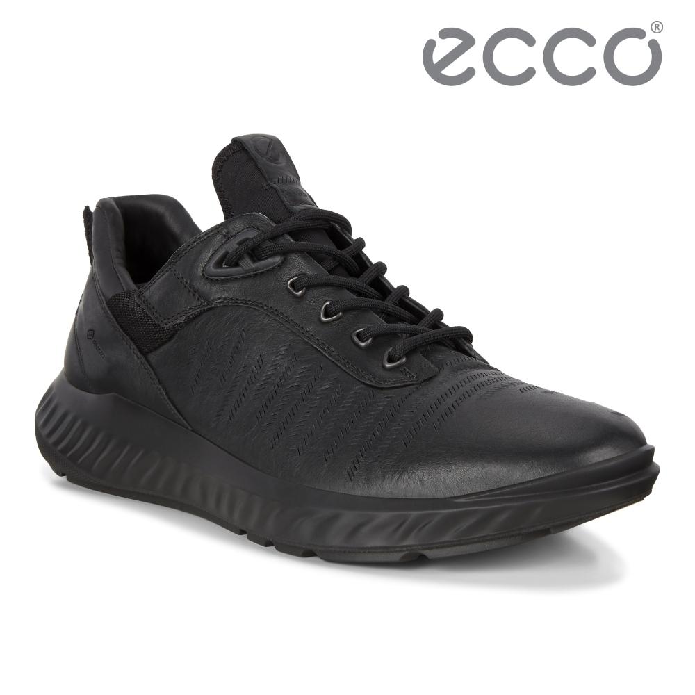 ECCO ST.1 LITE M 皮革防水運動休閒鞋 男-黑