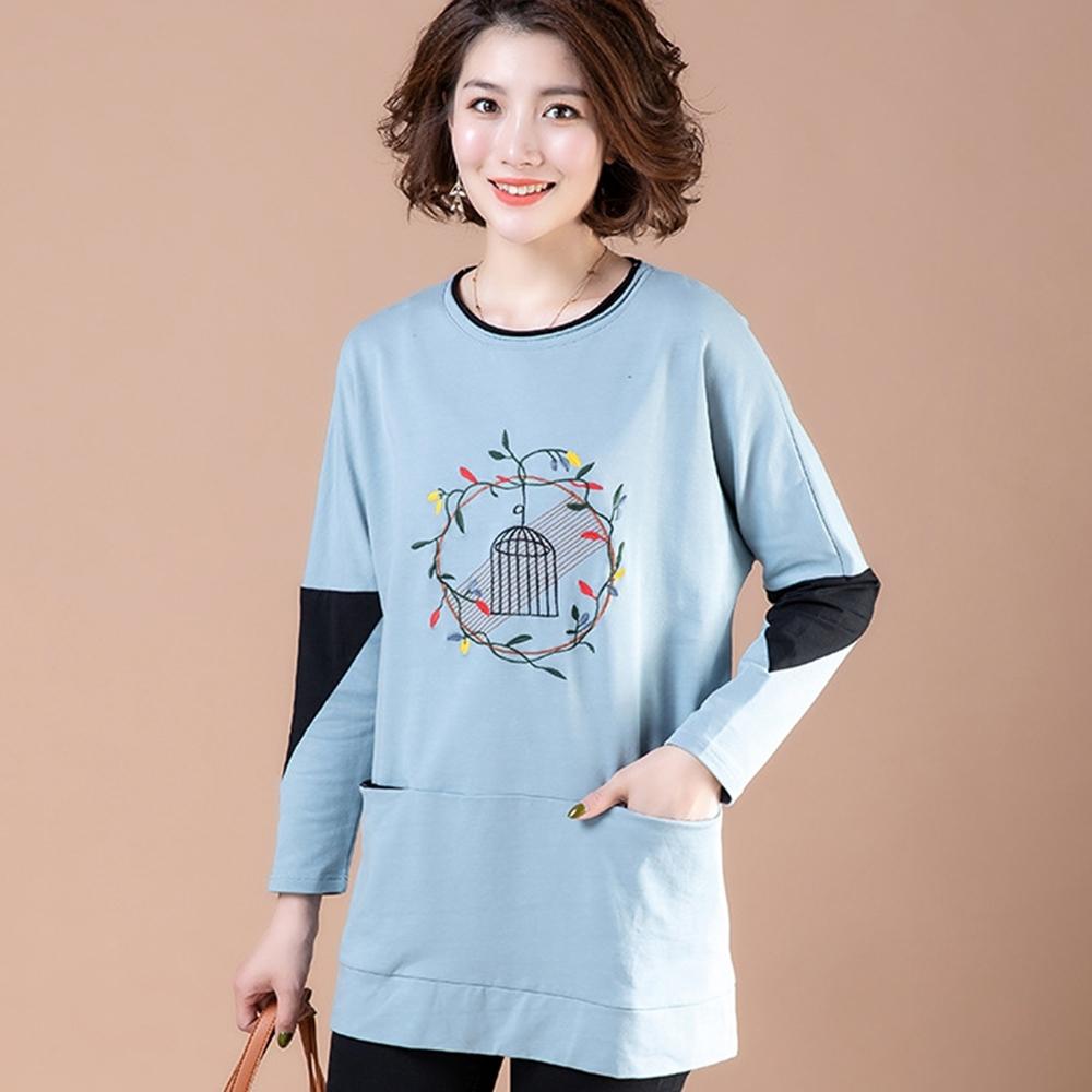初色  刺繡拼接長袖T恤-共3色-(M-2XL可選)