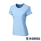 K-SWISS  PF RE Melange Tee排汗T恤-女-水藍