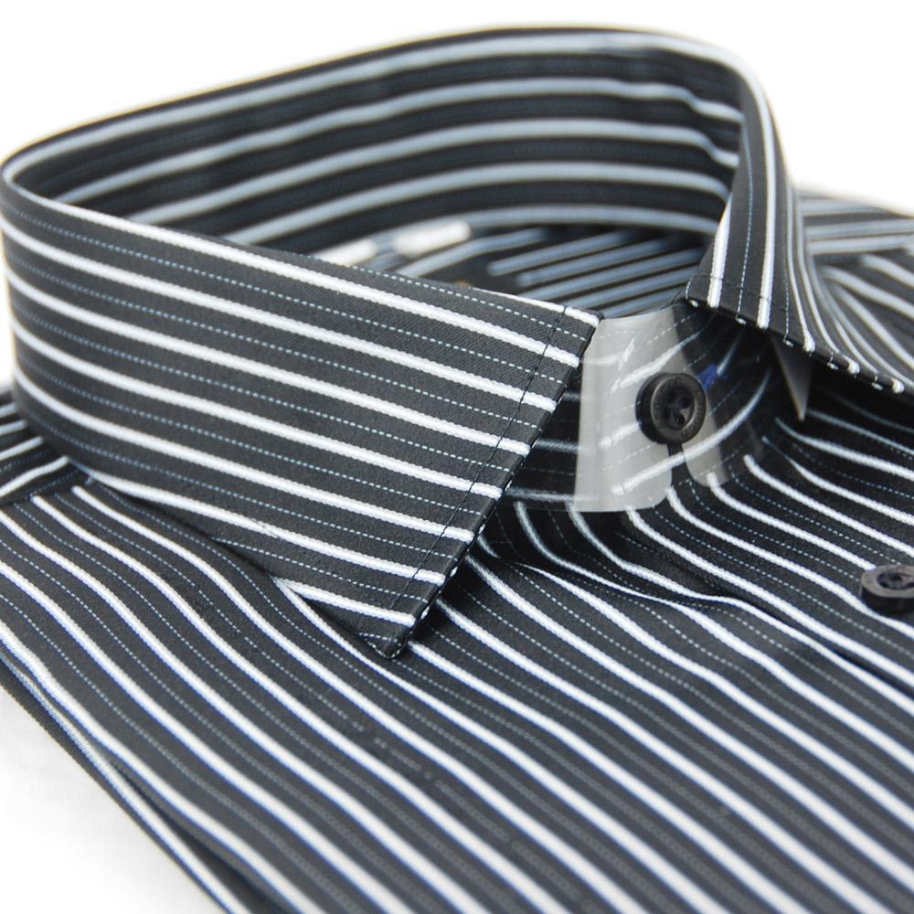 金‧安德森 黑底白線條窄版長袖襯衫
