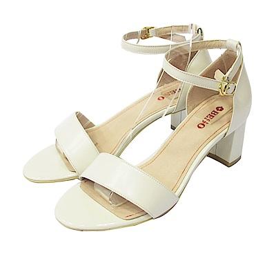 BESO  粉嫩夏季 一字帶細帶繫踝粗跟涼鞋~白