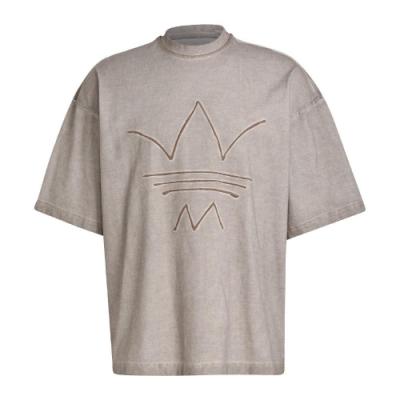 adidas T恤 Abstract Tee 運動休閒 男款 愛迪達 三葉草 特殊LOGO 仿舊 落肩 淺褐 GN3300