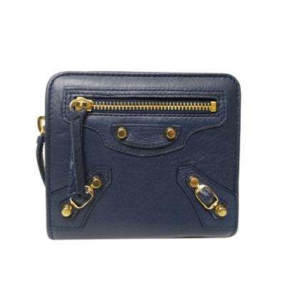 BALENCIAGA 巴黎世家金釦小羊皮釦式短夾(藍色)