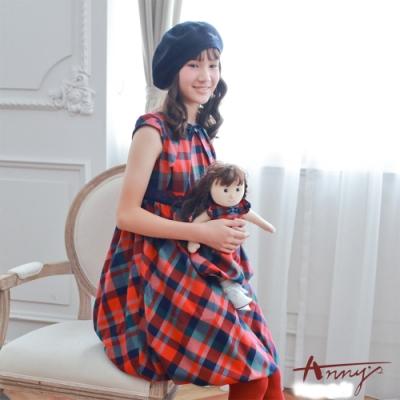 Annys氣質學院風格紋三角褶設計短袖洋裝*7238紅
