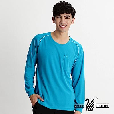 【遊遍天下】MIT男款吸濕排汗機能圓領長衫L038湛藍