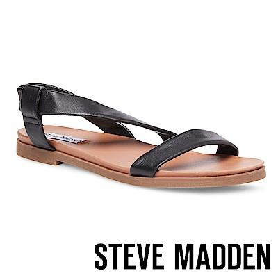 STEVE MADDEN DESSIE 寬版真羊皮透氣涼鞋-黑色