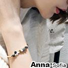 AnnaSofia 名伶純手工線綁天然石 開口硬質手環手鍊(金系)