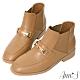 Ann'S訂製金釦彈力鬆緊切爾西平底短靴-杏(版型偏小) product thumbnail 1