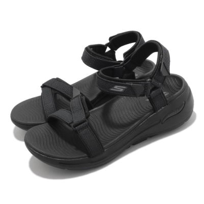 Skechers 涼鞋 Go Walk Arch Fit 女鞋 專利鞋墊 避震 緩衝 穩定 魔鬼氈 黑 140251BBK