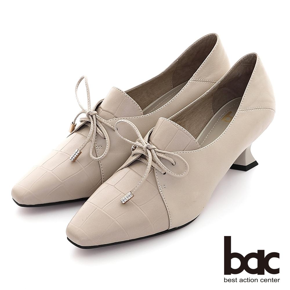 【bac】摩登特殊鞋跟深口綁帶高跟鞋-米灰