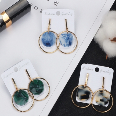 Hera 赫拉 韓版潮流墨染花紋短款雙圓耳環-3色