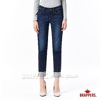 BRAPPERS 女款 新美腳ROYAL系列-女用中低腰彈性鑲鑽直筒褲-藍