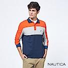 Nautica撞色條紋長袖POLO衫-橘藍