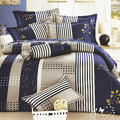 BUTTERFLY-台灣製造40支紗100%純棉-秀士棉-單人五件式床罩組-金枝藍格