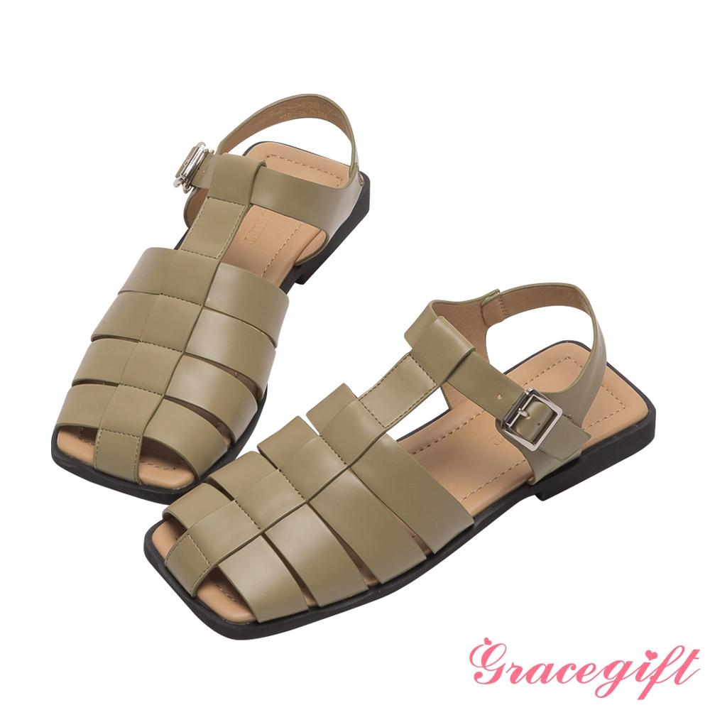 Grace gift-編織繫踝平底涼鞋 綠