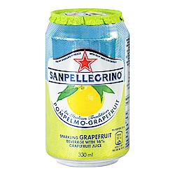 S.Pellegrino 聖沛黎洛 氣泡水果飲料 罐裝-葡萄柚口味(330mlx6入)