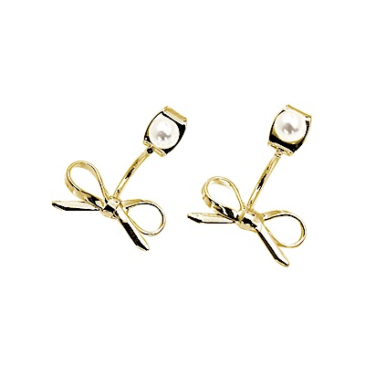 LOVER S TEMPO加拿大品牌 珍珠蝴蝶結造型 金色耳環