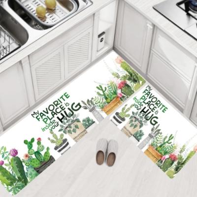 BUNNY LIFE 防油防水皮革廚房地墊-綠色植物(大45x120cm)