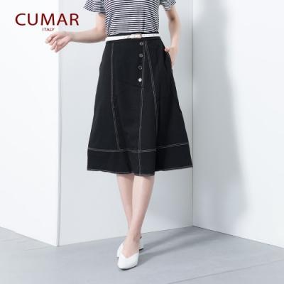 【CUMAR】百搭個性車線-長裙(二色/版型適中)