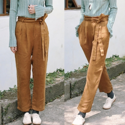 休閒褲-訂製面料純亞麻寬鬆直筒-設計所在
