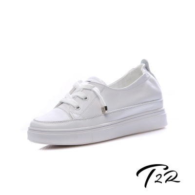 T2R-正韓空運-真皮帆布鞋小白鞋隱形增高鞋-增高5公分-白