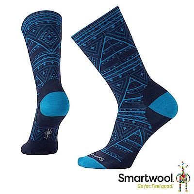 SmartWool 女幾何圖形中長襪 深海軍藍