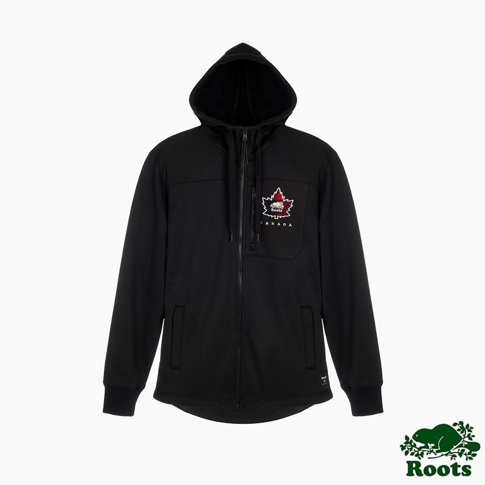 Roots 男裝-經典傳承系列  楓葉海狸複合材質連帽外套-黑色