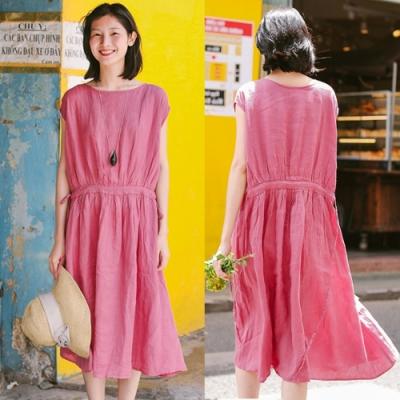 洋裝-純亞麻樹莓粉連肩袖寬鬆休閒長裙-設計所在