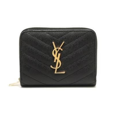 [時時樂限定]YSL Monogram 金色Logo 魚子醬牛皮V字縫線拉鍊暗扣短夾 黑色
