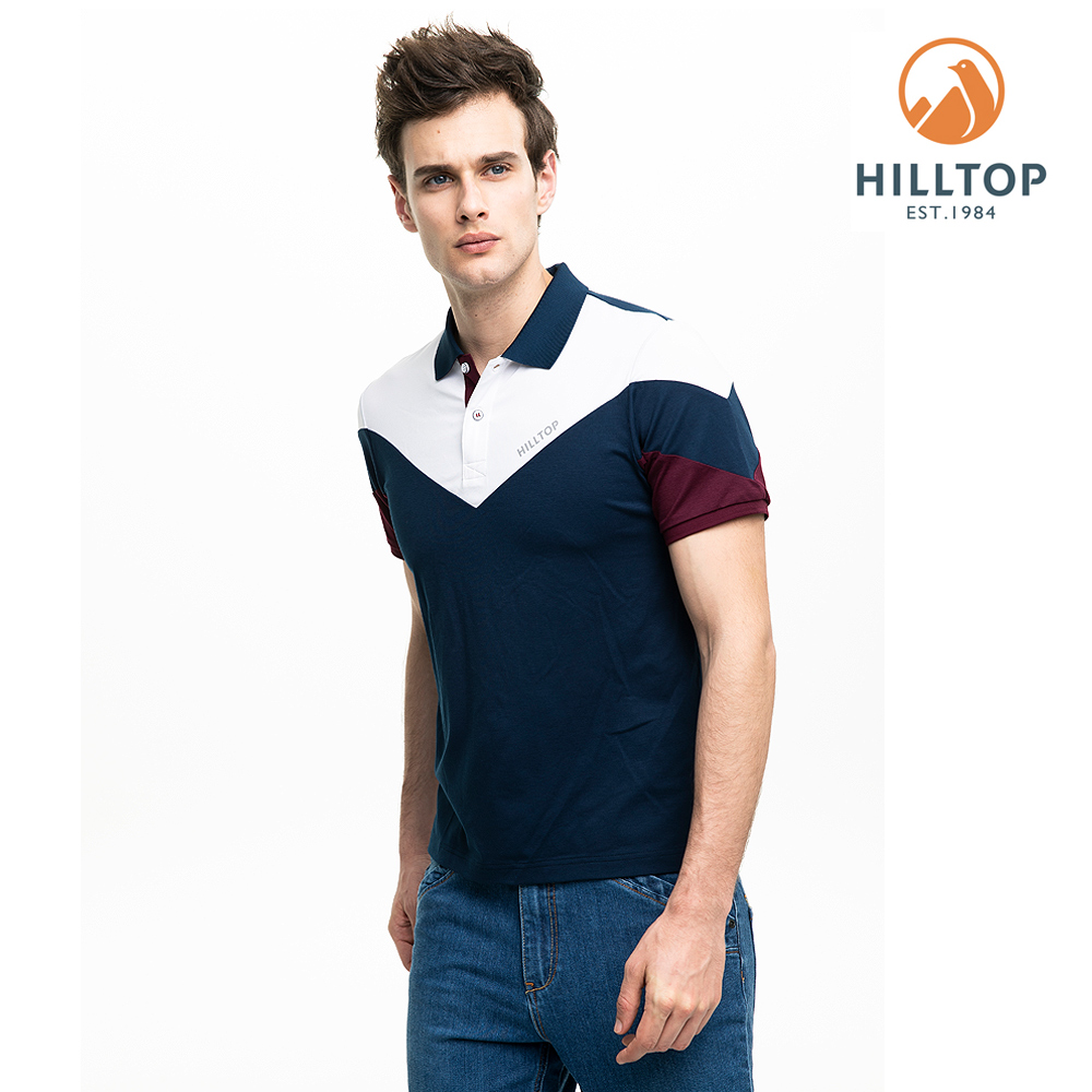 【hilltop山頂鳥】男款吸濕快乾抗菌彈性POLO衫S14MG2藍白