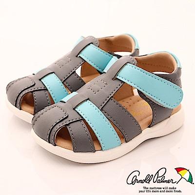 雨傘牌 皮質護趾涼鞋款 EI83251藍灰(小童段)