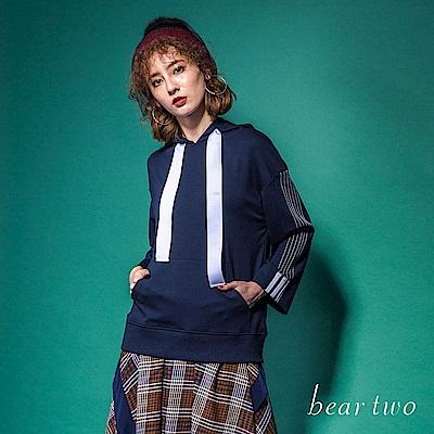 beartwo 運動時尚壓線設計款連帽上衣(2色)