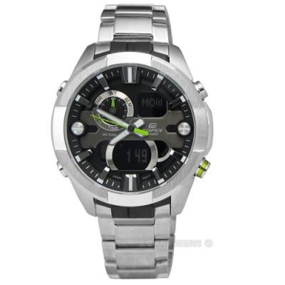 EDIFICE CASIO 粗獷剛毅指針數位雙顯不鏽鋼腕錶-黑色/45mm