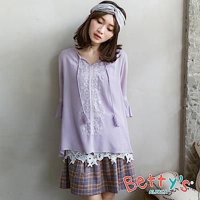 betty's貝蒂思 文青格紋配色短裙(中灰)