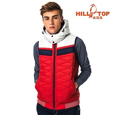 【hilltop山頂鳥】男款超撥水保暖蓄熱羽絨背心F25MF7龐貝紅