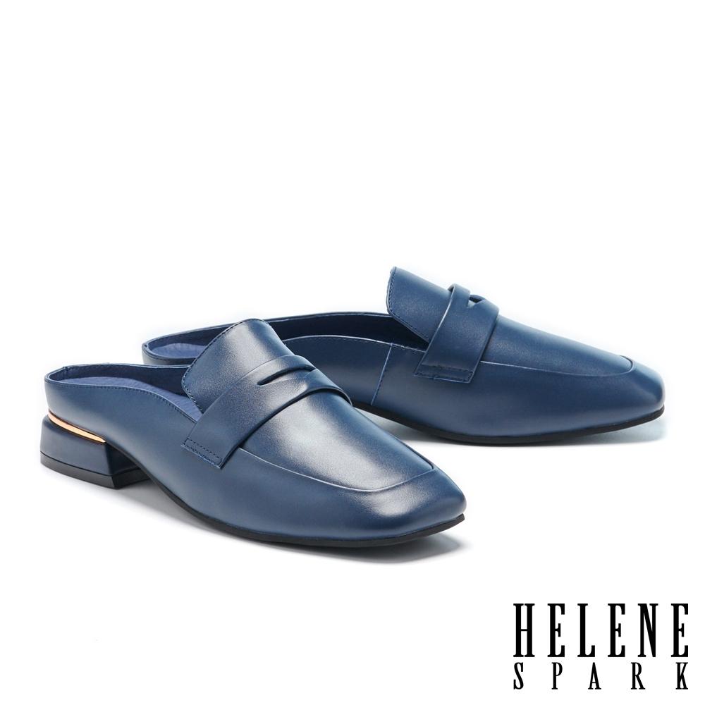 穆勒鞋 HELENE SPARK 簡約質感全真皮方頭低跟穆勒拖鞋-藍