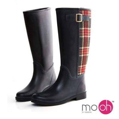 mo.oh愛雨天英倫格紋毛呢長筒雨鞋-黑色