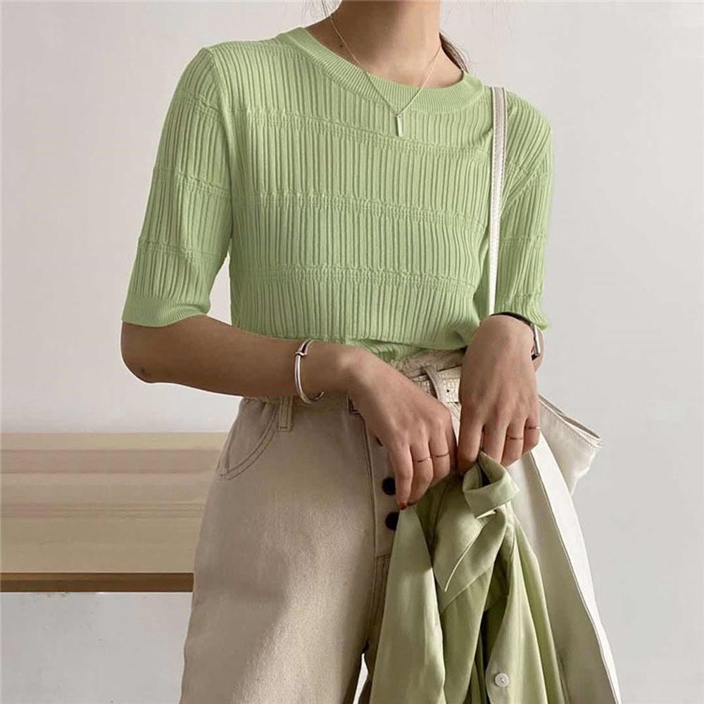 ALLK 歐楷 超彈力冰絲針織上衣 共6色(尺寸F 任選) (淺綠色)