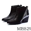 短靴 MISS 21 俐落時髦側拉鍊拼接全真皮尖頭粗跟短靴-拼接黑