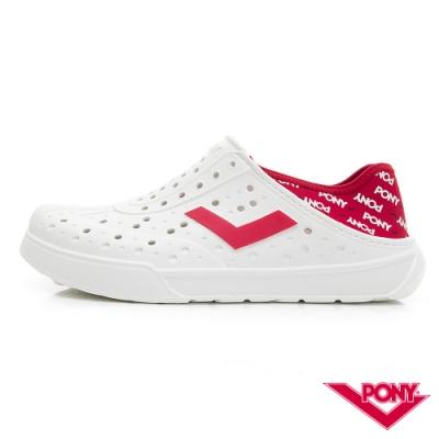 【PONY】ENJOY系列洞洞鞋-中性款-紅/LOGO印花