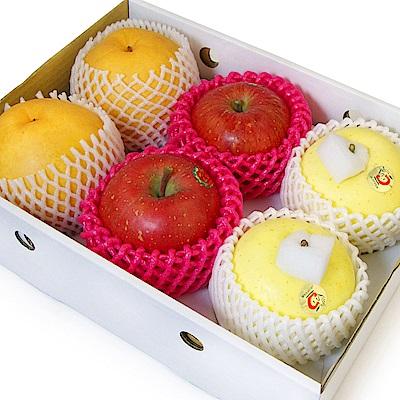 【愛上水果】迎春納福明星蘋果禮盒(金星蘋果2入+蜜富士2入+韓國梨2入)