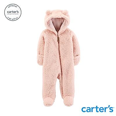 Carter's 毛茸茸連帽連身裝(粉)