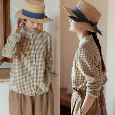 21支色織格子亞麻襯衫棉麻短上衣-設計所在