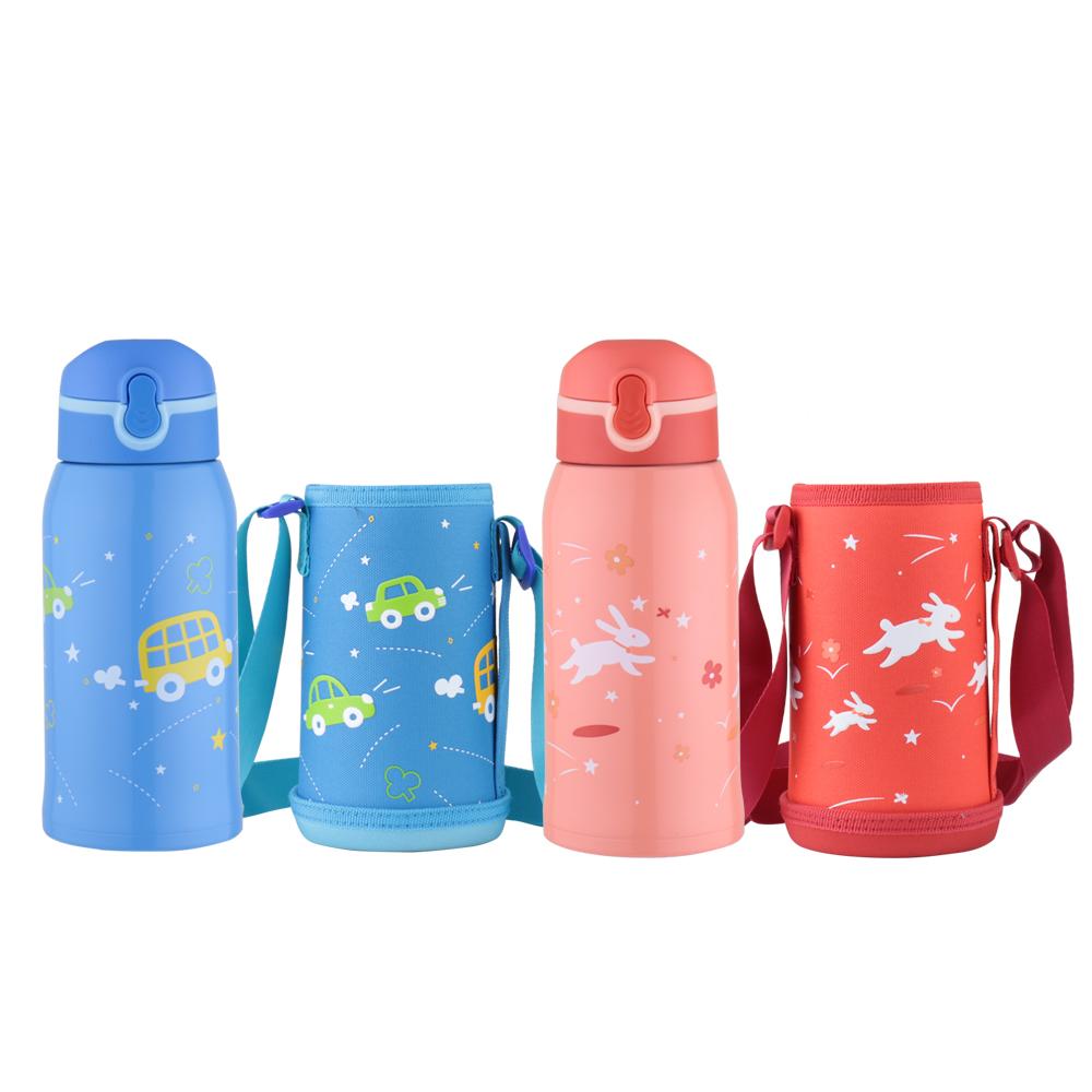 WOKY沃廚 兒童吸管保溫瓶560ML附杯套(2款可選)