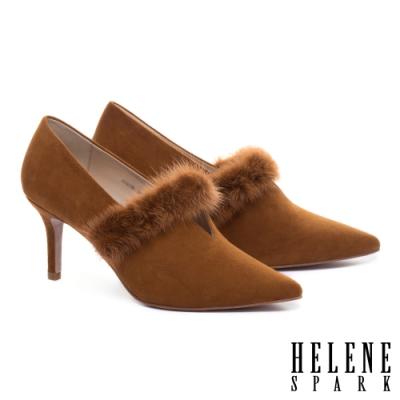 高跟鞋 HELENE SPARK 奢華暖感水貂毛V口全真皮尖頭高跟鞋-咖