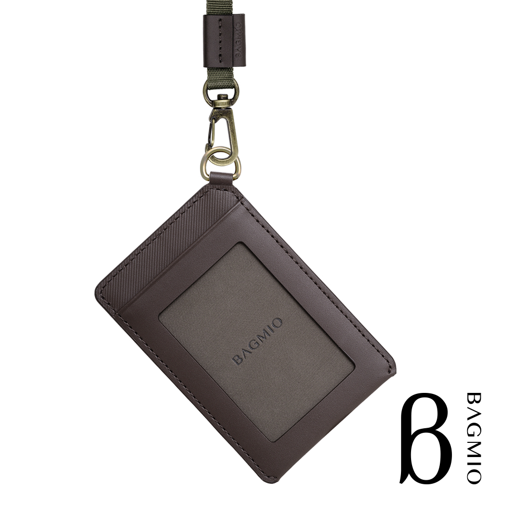 BAGMIO vigor 牛皮直式雙卡證件套 可可棕 附織帶