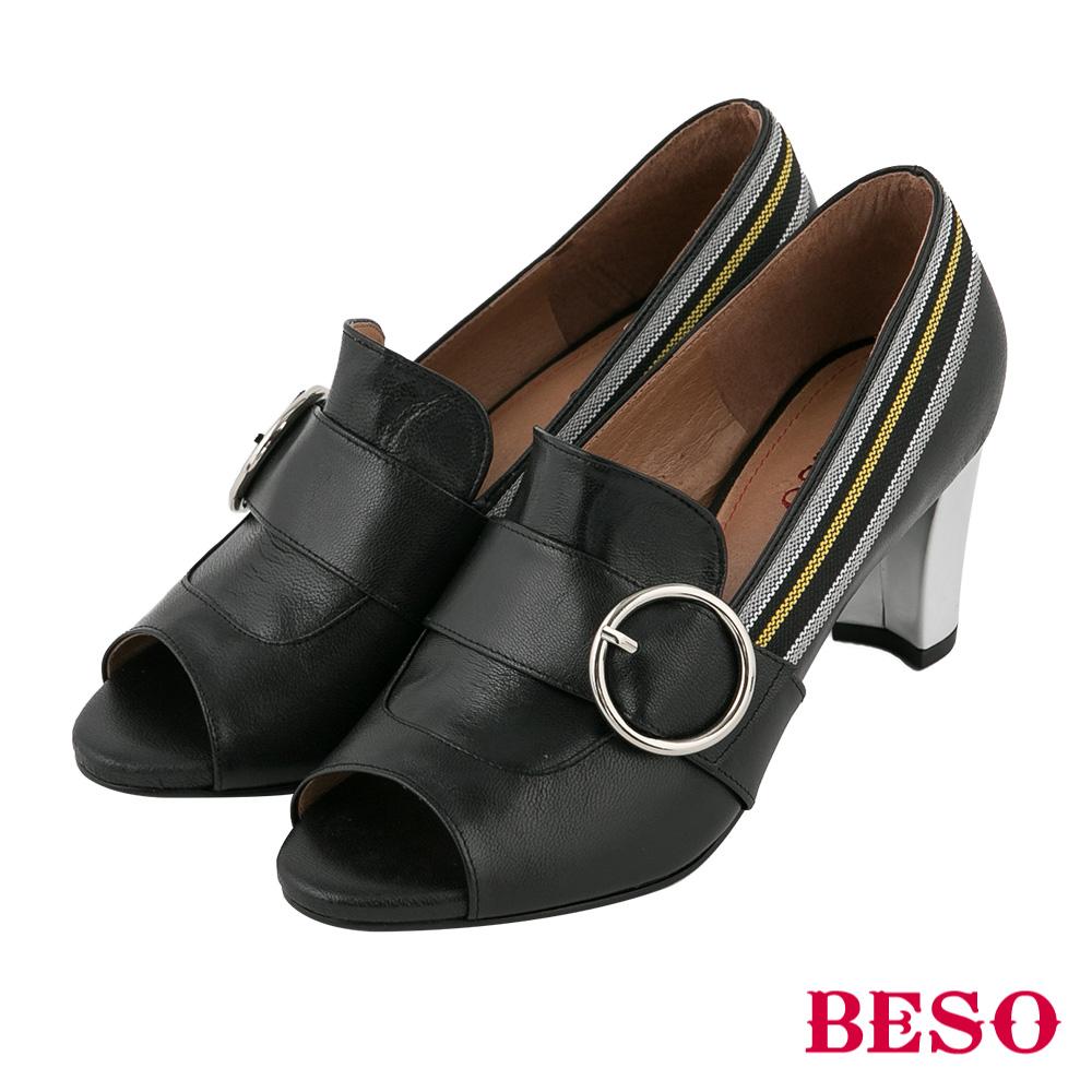 BESO 性感休閒 露趾魚口跟鞋~黑
