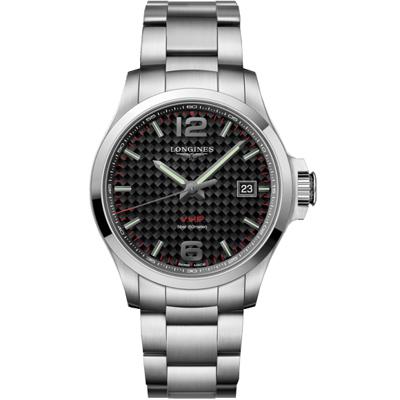 LONGINES 浪琴錶(L37264666) 征服者 VHP 萬年曆格紋黑x43mm