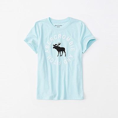 麋鹿 AF A&F 經典電繡大麋鹿文字短袖T恤(女青年款)-水藍色