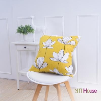 IN-HOUSE-簡約系列抱枕-手繪花紋黃(50x50cm)